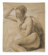 Seated Female Nude Fleece Blanket