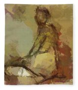 Seated Figure Fleece Blanket
