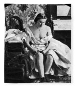 Seated Nude, C1861 Fleece Blanket
