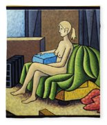 Seated Nude With Red Robe-framed Fleece Blanket