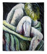 Seated Woman Abstract Fleece Blanket