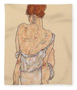 Seated Woman In Underwear Fleece Blanket
