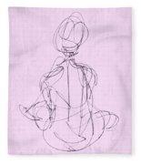 Seated Woman Fleece Blanket