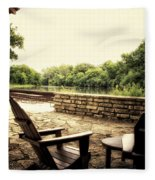 Seating For Two By The Creek Fleece Blanket