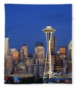 Seattle At Dusk Fleece Blanket