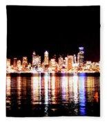 Seattle At Night - From Alki Beach Fleece Blanket