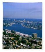 Seattle From Space Needle Fleece Blanket