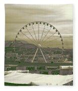 Seattle Great Wheel And Pier 57 Fleece Blanket