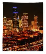 Seattle Night Traffic Fleece Blanket