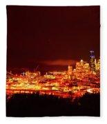 Seattle Night Traffic Too Fleece Blanket