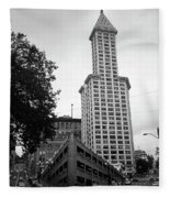 Seattle - Pioneer Square Tower Bw Fleece Blanket