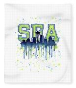 Seattle Watercolor 12th Man Art Painting Space Needle Go Seahawks Fleece Blanket