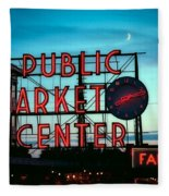 Seattle's Public Market Center At Sunset Fleece Blanket