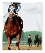 Secretariat Winning The Belmont Stakes, Jockey Ron Turcotte Looking Back, 1973 Fleece Blanket