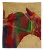 Secretariat Horse Race Watercolor Portrait Fleece Blanket
