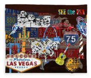 See The Usa Vintage Travel Map Recycled License Plate Art Of American Landmarks Fleece Blanket