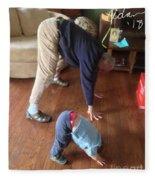 Self Portrait 8 - Downward Dog With Grandson Max On His 2nd Birthday Fleece Blanket