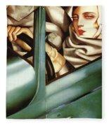 Self Portrait In A Green Bugatti Fleece Blanket