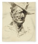 Self Portrait Of Frederic Remington Fleece Blanket