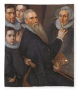 Self Portrait Of The Painter And His Family Fleece Blanket