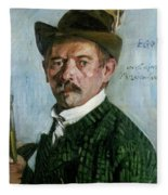 Self Portrait With Tyrolean Hat Fleece Blanket