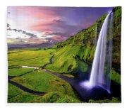 Seljalandsfoss Waterfall Fleece Blanket