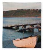 Sennen Cove Boat At Sunset Fleece Blanket