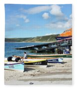 Sennen Cove Lifeboat And Pilot Gigs Fleece Blanket