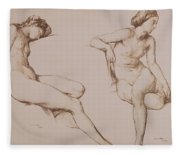 Sepia Drawing Of Nude Woman Fleece Blanket
