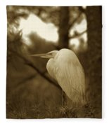 Sepia Egret  Fleece Blanket