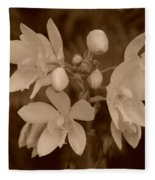 Sepia Flower Fleece Blanket