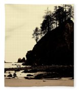 Sepia High Contrast Rialto Beach Fleece Blanket