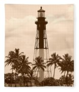 Sepia Light House  Fleece Blanket