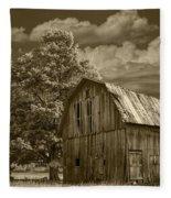 Sepia Michigan Barn Landscape Fleece Blanket