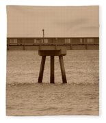 Sepia Pier Fleece Blanket