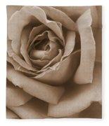Sepia Rose Abstract Fleece Blanket