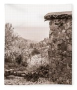 Sepia-toned Fikardou Village Scene 1 Fleece Blanket