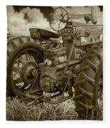 Sepia Toned Old Farmall Tractor In A Grassy Field Fleece Blanket