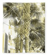 Sepia Toned Pen And Ink Palm Trees Fleece Blanket