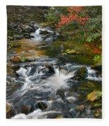Serene Mountain Stream Fleece Blanket