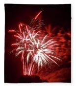 Series Of Red And White Fireworks Fleece Blanket