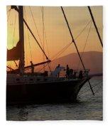 Set Sail On The Aegean At Sunset Fleece Blanket