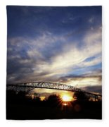 Setting Sun And Cloudy Skies Fleece Blanket