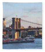 Setting Sun On Brooklyn Bridge Fleece Blanket
