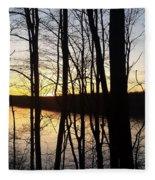 Setting Sun On Monroe Lake Bloomington Indiana Fleece Blanket