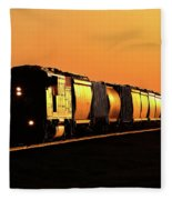Setting Sun Reflecting Off Train And Track Fleece Blanket