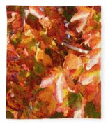 Seurat-like Fall Leaves Fleece Blanket