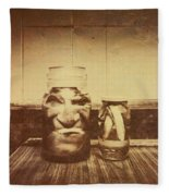 Severed And Preserved Head And Hand In Jars Fleece Blanket