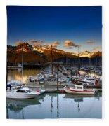 Seward Alaska Boat Marina Fleece Blanket