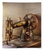 Sewing - A Black And White Sewing Machine  Fleece Blanket